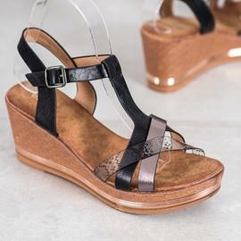 Evento Eleganckie Sandały Na Koturnie czarne 1
