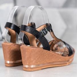 Evento Eleganckie Sandały Na Koturnie czarne 2