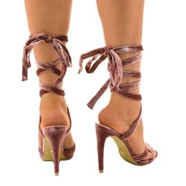 Różowe sandały na szpilce z zamszu 1261-21 3