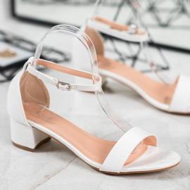 Small Swan Komfortowe Sandałki Na Niskim Słupku białe 2