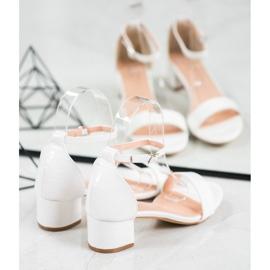 Small Swan Komfortowe Sandałki Na Niskim Słupku białe 3