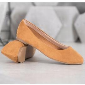 Best Shoes Zamszowe Baleriny brązowe 4