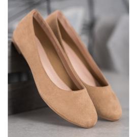 Best Shoes Zamszowe Baleriny brązowe 2