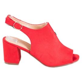SHELOVET Klasyczne Sandałki Na Obcasie czerwone 1