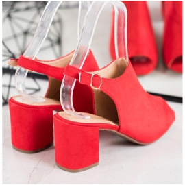 SHELOVET Klasyczne Sandałki Na Obcasie czerwone 2