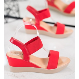Clowse Lekkie Wsuwane Sandały czerwone 1
