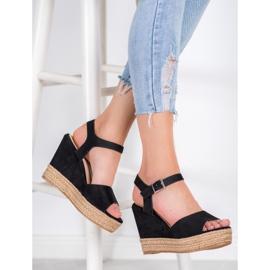Clowse Czarne Sandały Na Wysokiej Koturnie 3