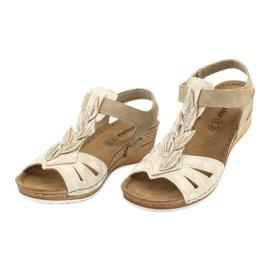 Sandały z wkładką skórzaną Inblu Sabbia EP017 beżowy złoty 2