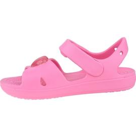 Sandały Crocs Classic Cross-Strap Sandal K 206245-669 czarne różowe 1