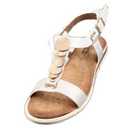Srebne sandały damskie Evento 20SD14 2067 białe szare 5