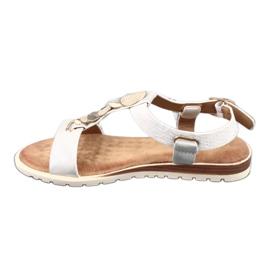 Srebne sandały damskie Evento 20SD14 2067 białe szare 4