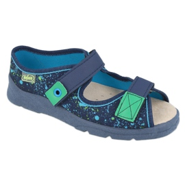 Befado obuwie dziecięce  869Y142 granatowe wielokolorowe zielone 1