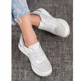 Wsuwane Sneakersy Z Kryształkami VINCEZA białe 2