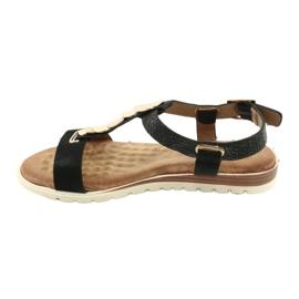 Modne czarne sandały damskie Evento 20SD14 2067 żółte 2