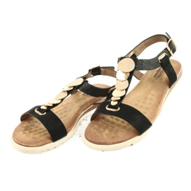 Modne czarne sandały damskie Evento 20SD14 2067 żółte 3