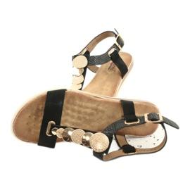 Modne czarne sandały damskie Evento 20SD14 2067 żółte 4