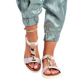 Srebne sandały damskie Evento 20SD14 2067 białe szare 2