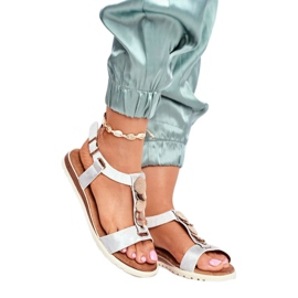 Srebne sandały damskie Evento 20SD14 2067 białe szare 1