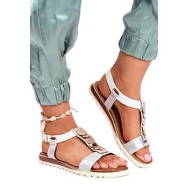 Srebne sandały damskie Evento 20SD14 2067 białe szare 3