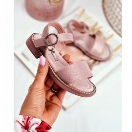 Apawwa Sandały Dziecięce na Rzepy Różowe Brokat Verden 1