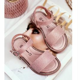 Apawwa Sandały Dziecięce na Rzepy Różowe Brokat Verden 3
