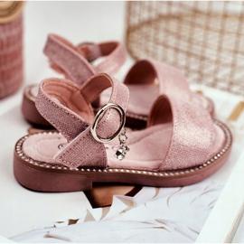 Apawwa Sandały Dziecięce na Rzepy Różowe Brokat Verden 2