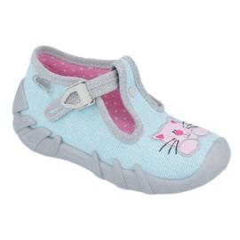 Befado obuwie dziecięce 110P375 niebieskie różowe szare 1