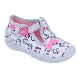 Befado obuwie dziecięce 110P377 różowe szare 1