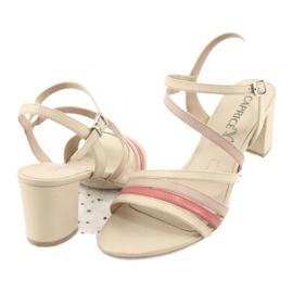Caprice sandały buty damskie 28304 beżowy czerwone 3
