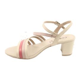 Caprice sandały buty damskie 28304 beżowy czerwone 1