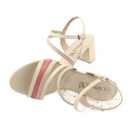 Caprice sandały buty damskie 28304 beżowy czerwone 4