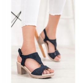 SHELOVET Komfortowe Sandały Na Rzep niebieskie 1
