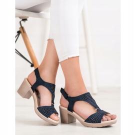 SHELOVET Komfortowe Sandały Na Rzep niebieskie 2