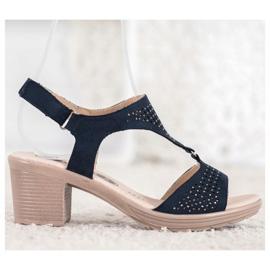 SHELOVET Komfortowe Sandały Na Rzep niebieskie 3