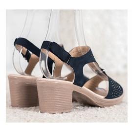 SHELOVET Komfortowe Sandały Na Rzep niebieskie 4