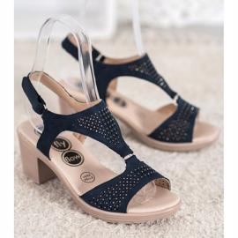 SHELOVET Komfortowe Sandały Na Rzep niebieskie 5