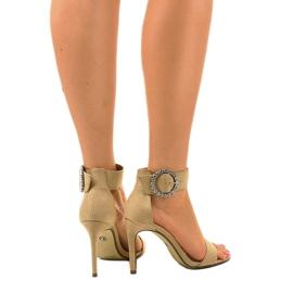 Beżowe sandały na szpilce z eko-zamszu 91761-3 beżowy 3