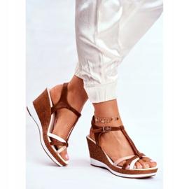 Sandały Damskie Na Koturnie Sergio Leone Brązowe SK308 białe 2