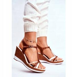 Sandały Damskie Na Koturnie Sergio Leone Brązowe SK308 białe 1