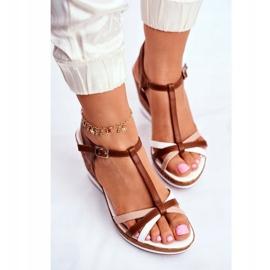 Sandały Damskie Na Koturnie Sergio Leone Brązowe SK308 białe 4