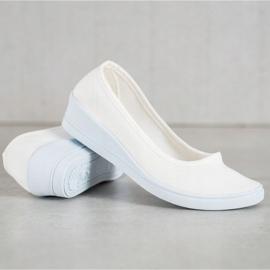 SHELOVET Białe Casualowe Baleriny 3