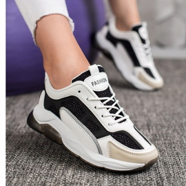 Via Giulia  Sneakersy Z Brokatem Fashion białe czarne 2