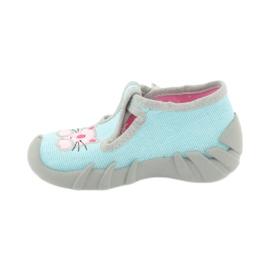 Befado obuwie dziecięce 110P375 niebieskie różowe szare 2