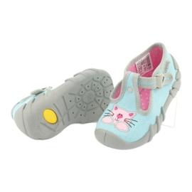 Befado obuwie dziecięce 110P375 niebieskie różowe szare 5