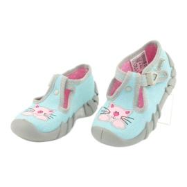 Befado obuwie dziecięce 110P375 niebieskie różowe szare 3