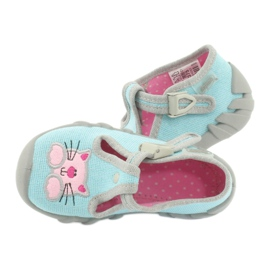 Befado obuwie dziecięce 110P375 niebieskie różowe szare 6