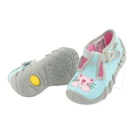 Befado obuwie dziecięce 110P375 niebieskie różowe szare 4