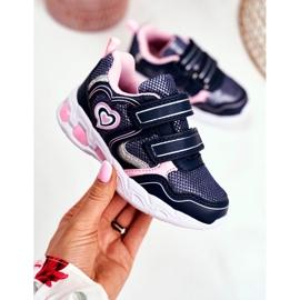 EVE Sportowe Buty Dziecięce Świecące Na Rzepy Granatowe Scarlet 2