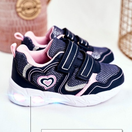 EVE Sportowe Buty Dziecięce Świecące Na Rzepy Granatowe Scarlet 4