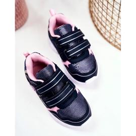 EVE Sportowe Buty Dziecięce Świecące Na Rzepy Granatowe Scarlet 3